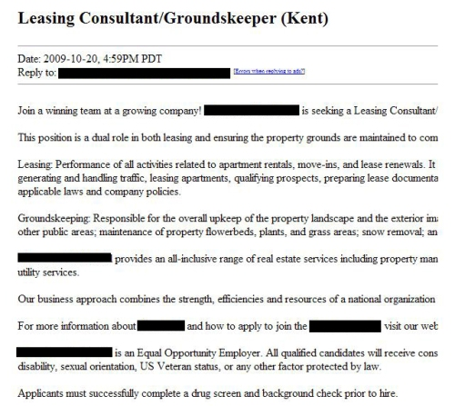 leasing consultant and groundskeeper