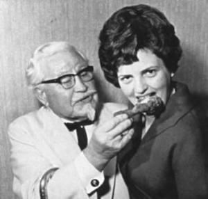 vintage kfc woman eat chix